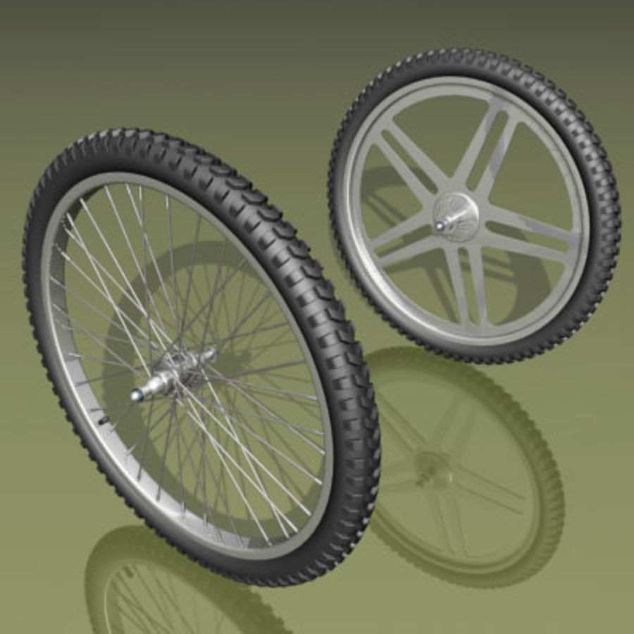 Two types of bicycle wheels royalty-free 3d model - Preview no. 1