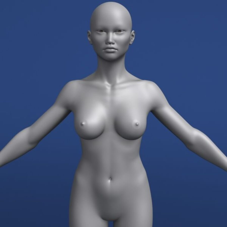 Asian Female 3d Model royalty-free 3d model - Preview no. 7