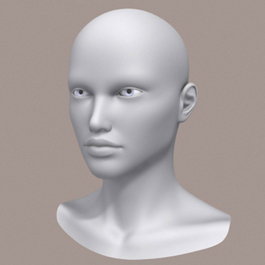 女性头3d模型 royalty-free 3d model - Preview no. 2