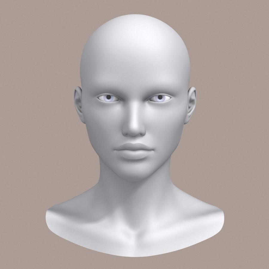 女性头3d模型 royalty-free 3d model - Preview no. 1