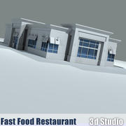 Fast Food Restaurant w/ Drive-Thru 3d model