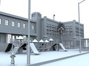 school with playground 3d model