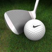 Club de golf, balle et herbe 3D 3d model