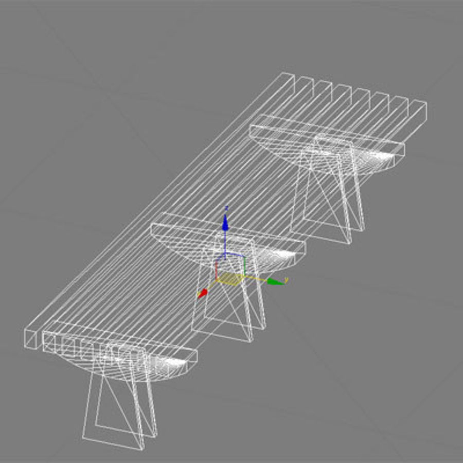park bench 01 model royalty-free 3d model - Preview no. 4