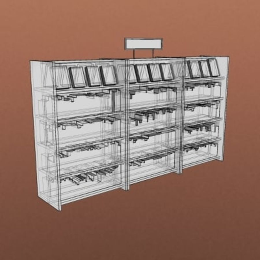 Furniture-Bookcase - Small Library 001 royalty-free 3d model - Preview no. 2
