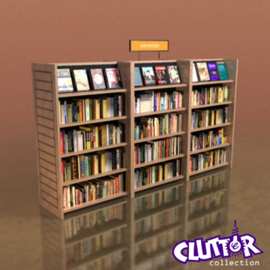 Furniture-Bookcase - Small Library 001 royalty-free 3d model - Preview no. 1