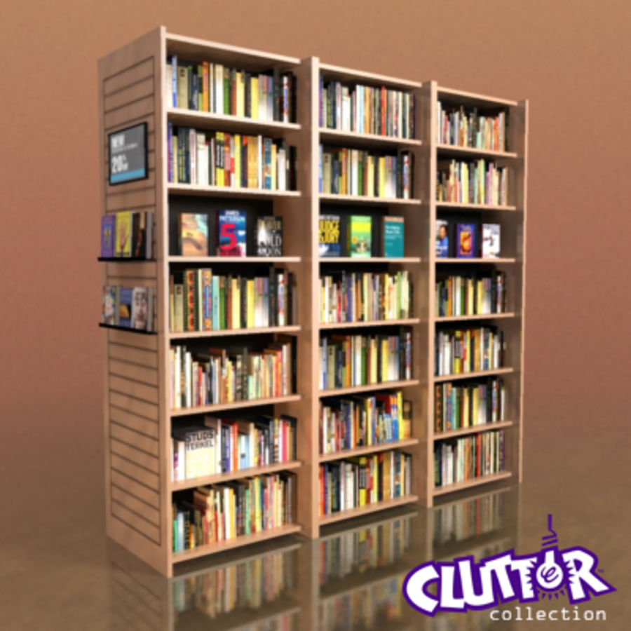 Furniture-Bookcase - Large Library 001 royalty-free 3d model - Preview no. 1