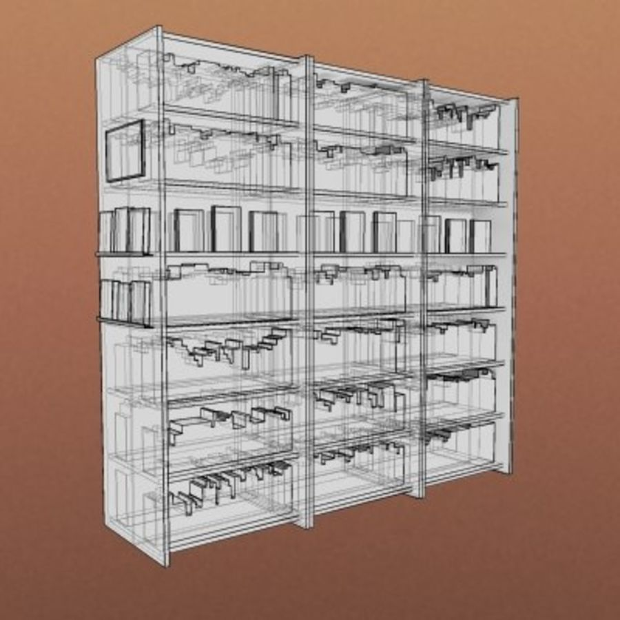 Möbel-Bokhylla - Stort bibliotek 001 royalty-free 3d model - Preview no. 2