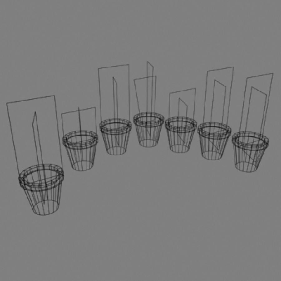 화분에 심은 꽃과 식물 (7) royalty-free 3d model - Preview no. 3