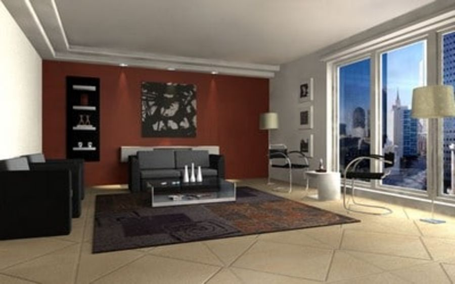 Living room scene 01 royalty-free 3d model - Preview no. 1