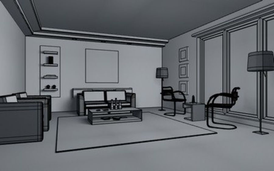 Living room scene 01 royalty-free 3d model - Preview no. 4