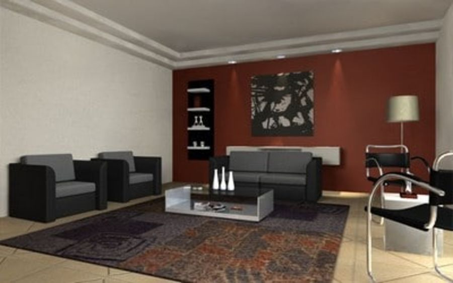 Living room scene 01 royalty-free 3d model - Preview no. 3