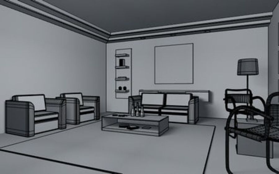 Living room scene 01 royalty-free 3d model - Preview no. 5