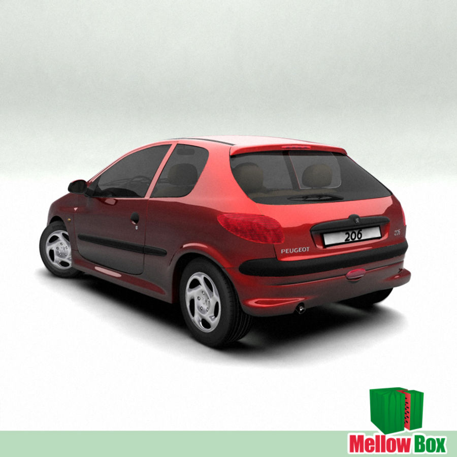 Peugeot 206 royalty-free 3d model - Preview no. 2