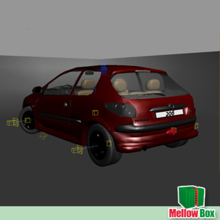 Peugeot 206 royalty-free 3d model - Preview no. 10