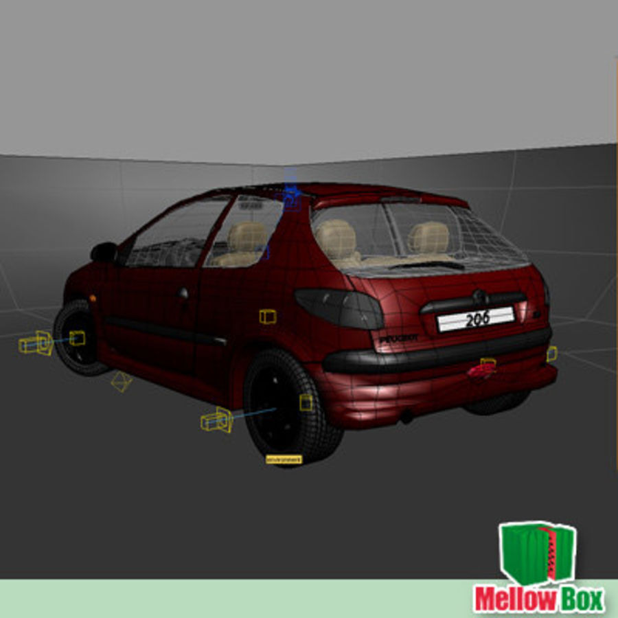 Peugeot 206 royalty-free 3d model - Preview no. 11