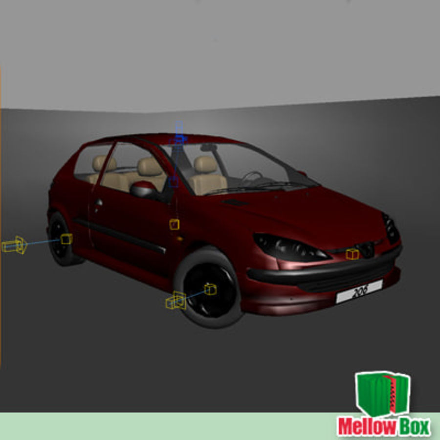 Peugeot 206 royalty-free 3d model - Preview no. 12
