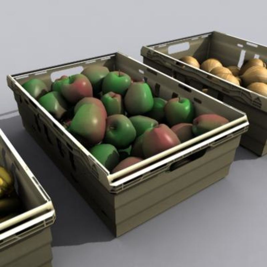 과일과 채소 상자 royalty-free 3d model - Preview no. 3