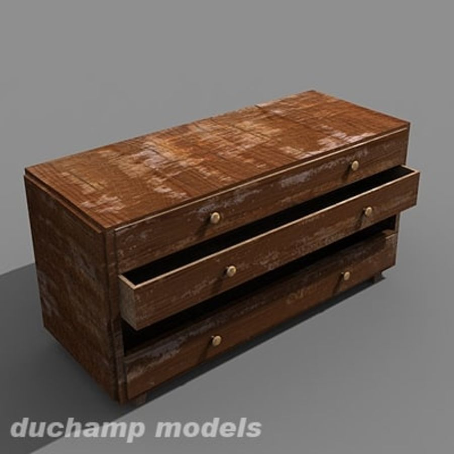 old chest of drawers royalty-free 3d model - Preview no. 7
