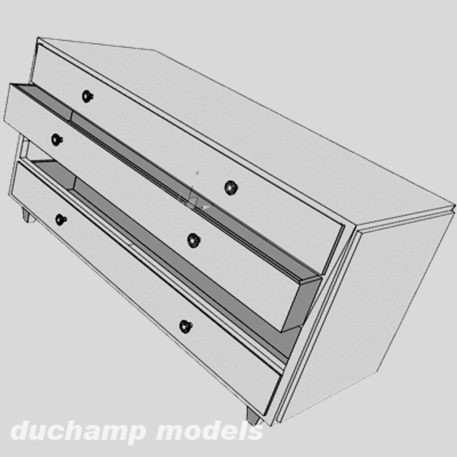 old chest of drawers royalty-free 3d model - Preview no. 5