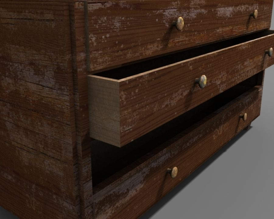 old chest of drawers royalty-free 3d model - Preview no. 2