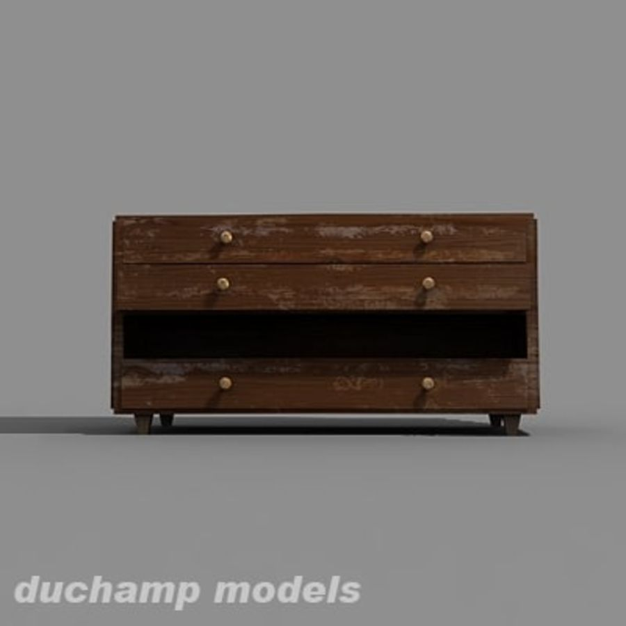 old chest of drawers royalty-free 3d model - Preview no. 8