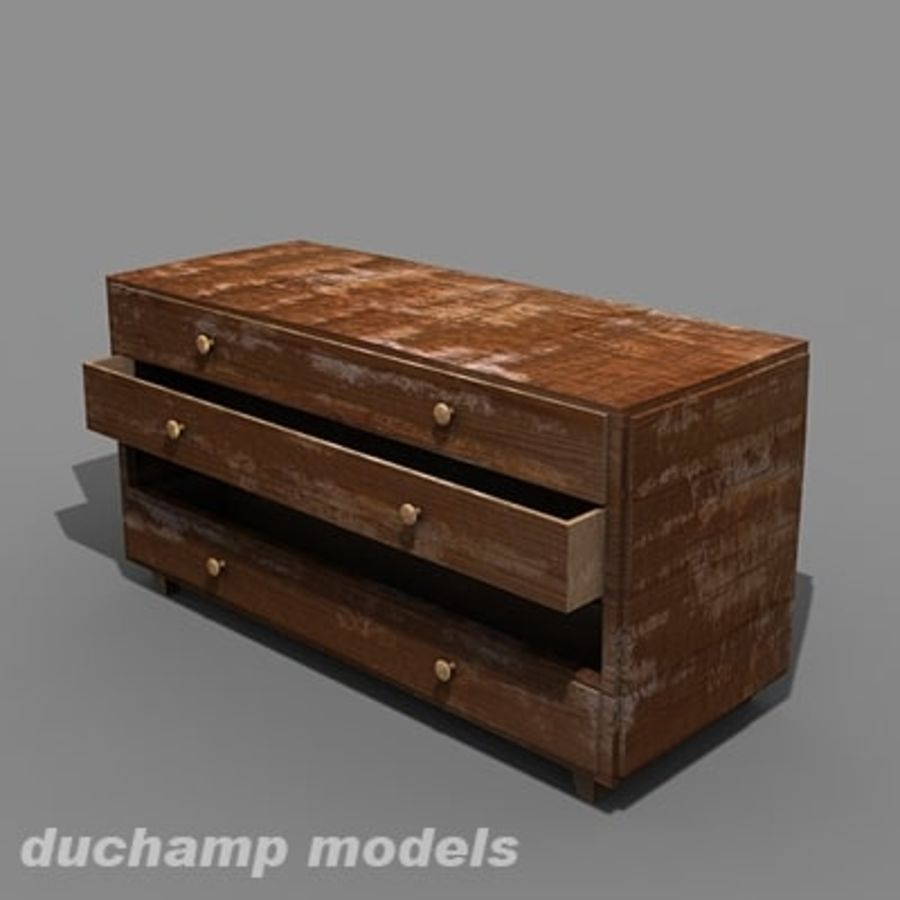 old chest of drawers royalty-free 3d model - Preview no. 6