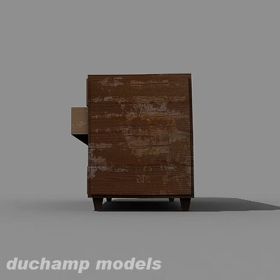 old chest of drawers royalty-free 3d model - Preview no. 3