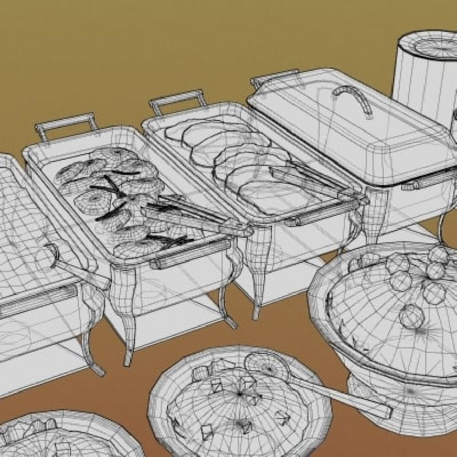 Clutter-Banquet Buffet 001 royalty-free 3d model - Preview no. 6