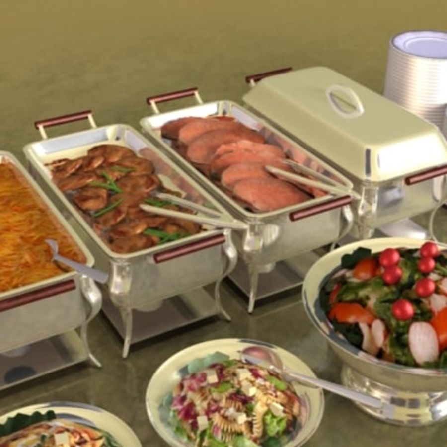 Clutter-Banquet Buffet 001 royalty-free 3d model - Preview no. 4