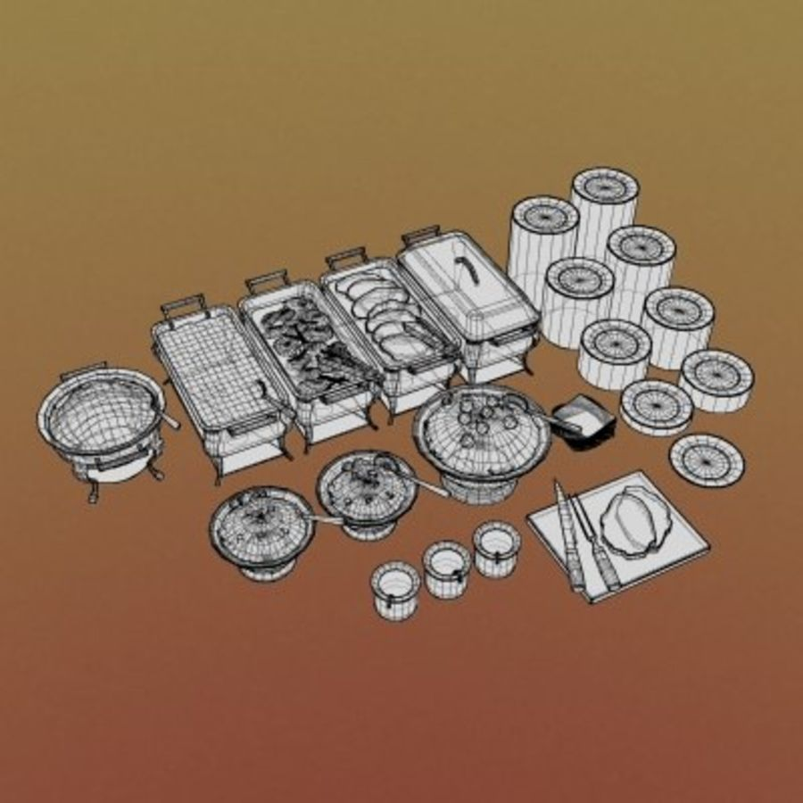 Clutter-Banquet Buffet 001 royalty-free 3d model - Preview no. 7