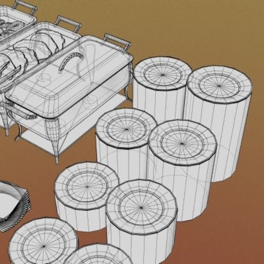 Clutter-Banquet Buffet 001 royalty-free 3d model - Preview no. 8