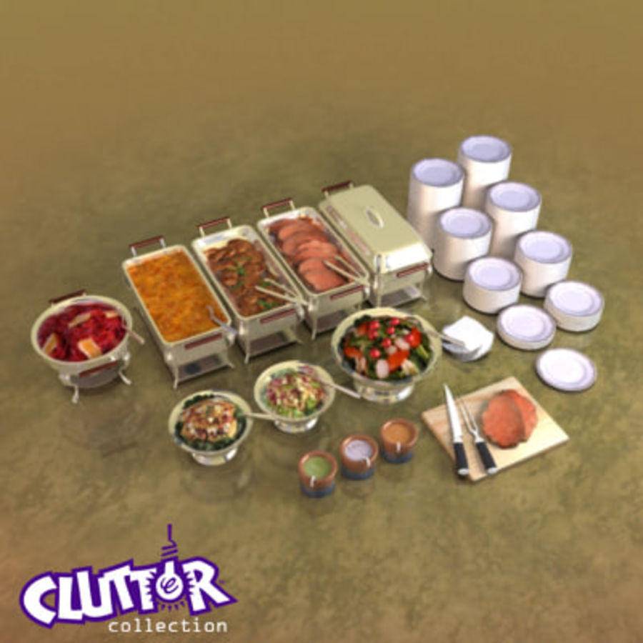 Clutter-Banquet Buffet 001 royalty-free 3d model - Preview no. 1