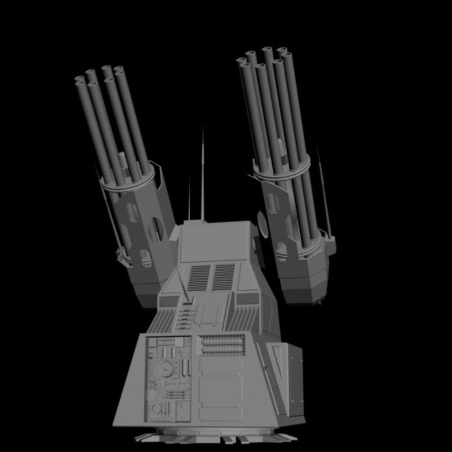 dual heavy chain gun turret royalty-free 3d model - Preview no. 2