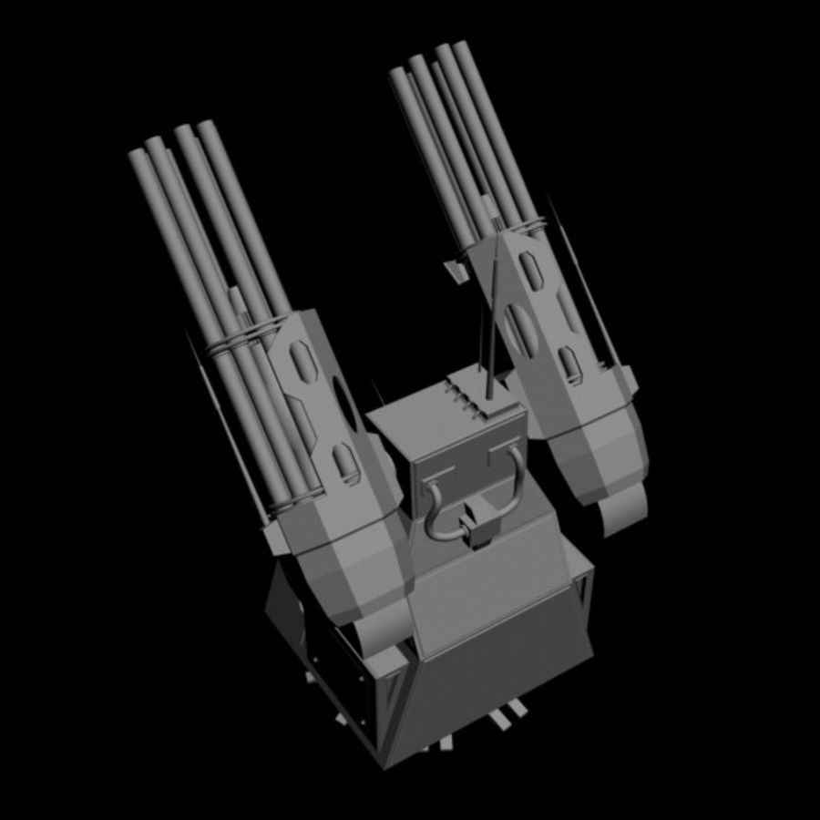 dual heavy chain gun turret royalty-free 3d model - Preview no. 4