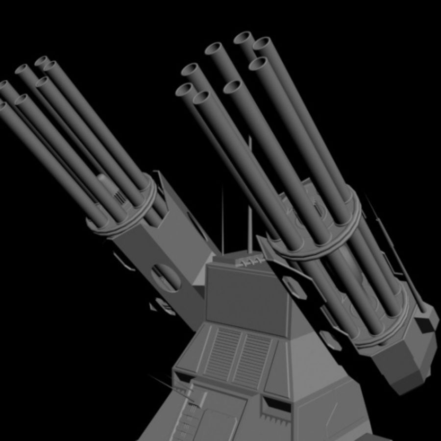 dual heavy chain gun turret royalty-free 3d model - Preview no. 5