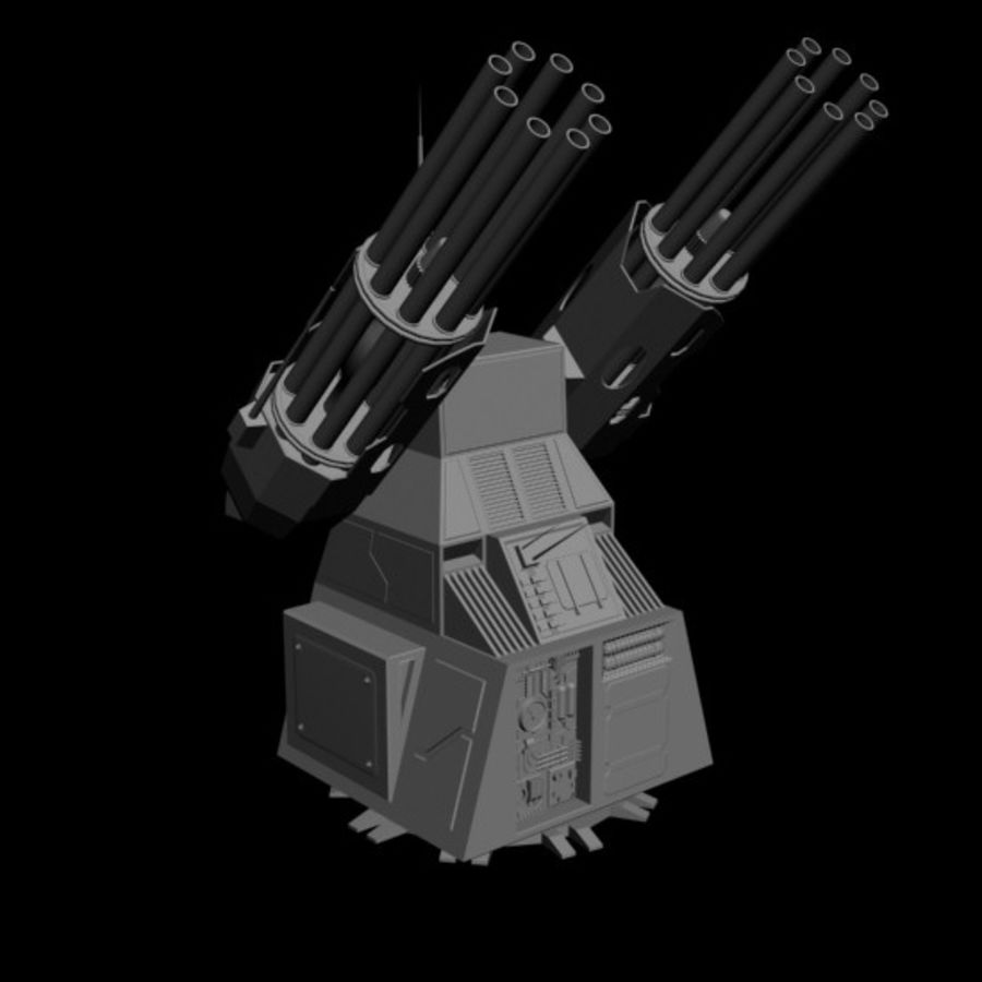 dual heavy chain gun turret royalty-free 3d model - Preview no. 1