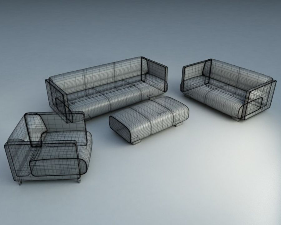 4-delige bank royalty-free 3d model - Preview no. 2