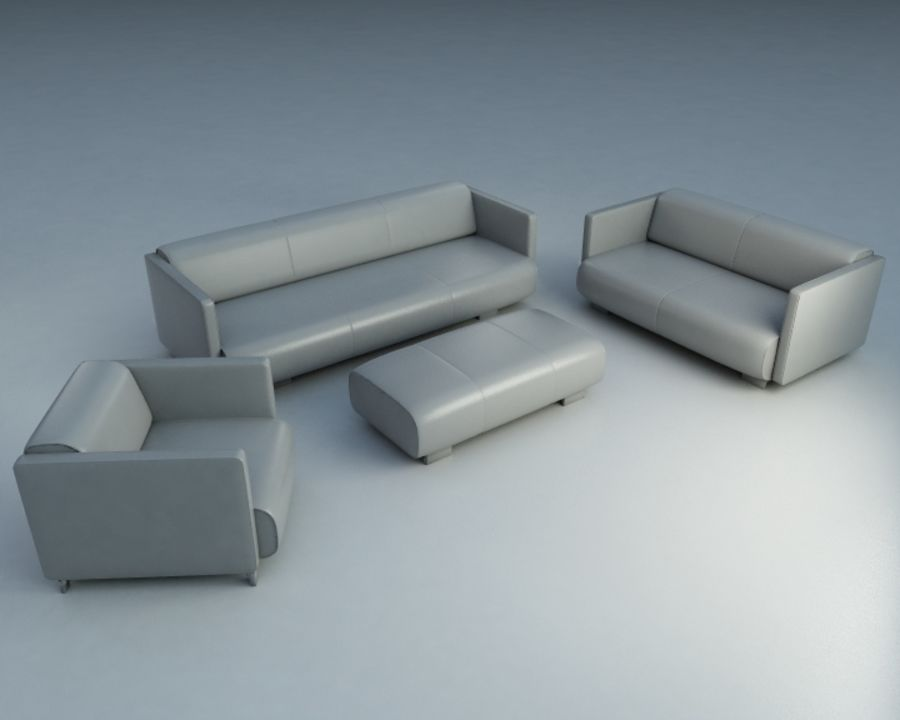 4-delige bank royalty-free 3d model - Preview no. 1