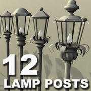 12 lamp posts 3d model