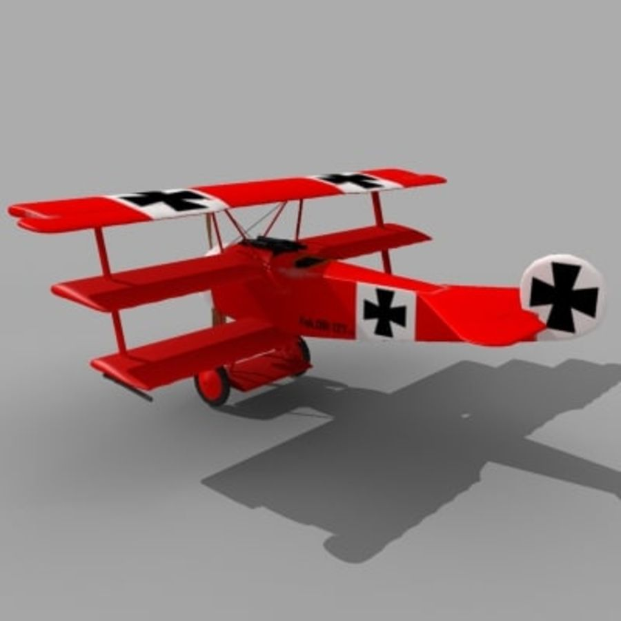 Fokker Dr. I Red Baron royalty-free 3d model - Preview no. 2