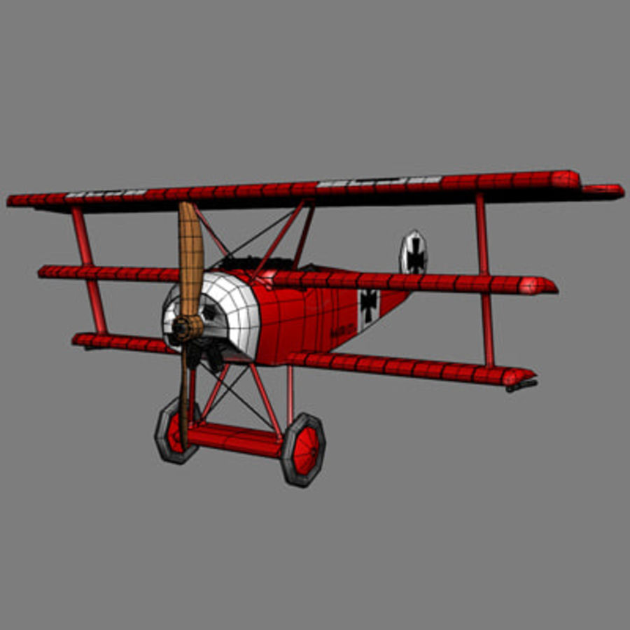 Fokker Dr. I Red Baron royalty-free 3d model - Preview no. 7