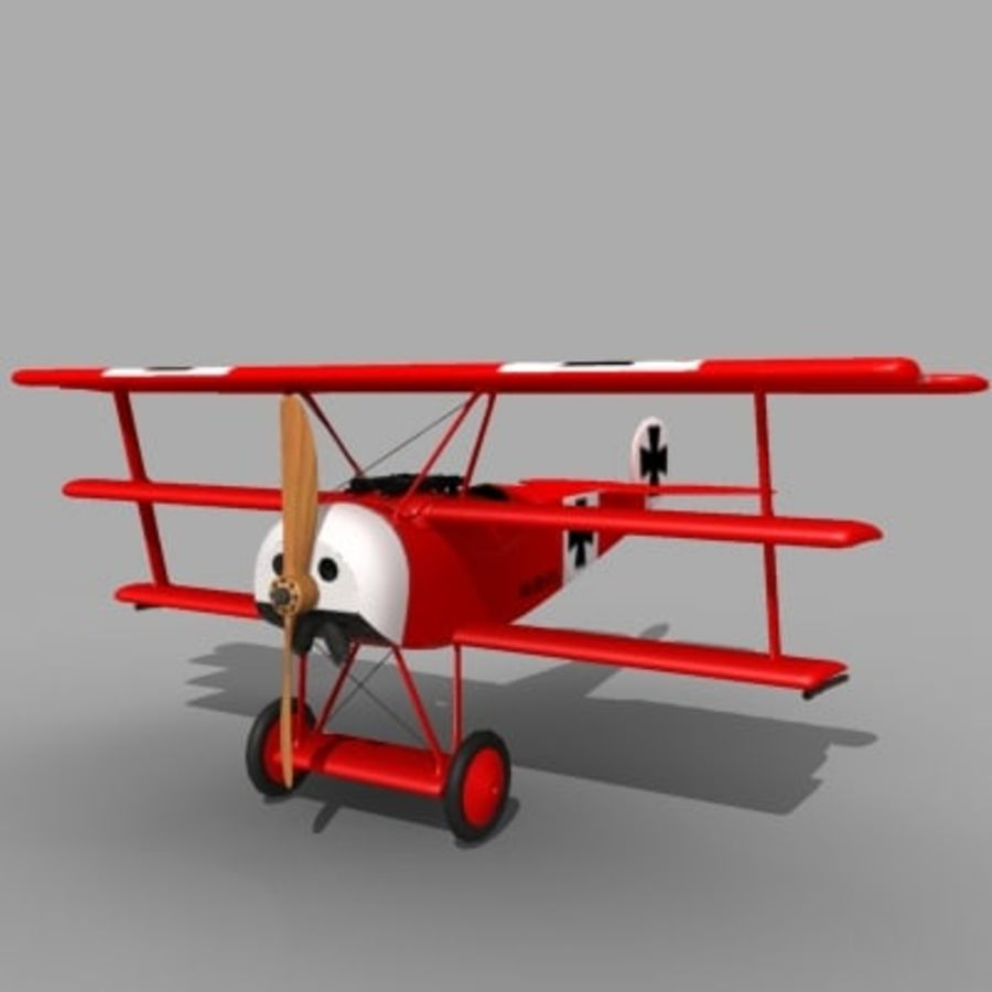 Fokker Dr. I Red Baron royalty-free 3d model - Preview no. 3