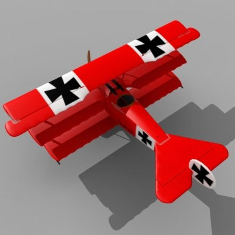 Fokker Dr. I Red Baron royalty-free 3d model - Preview no. 1
