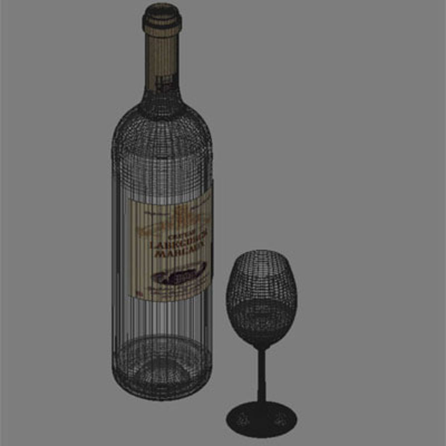 vino y copa de vino royalty-free modelo 3d - Preview no. 6