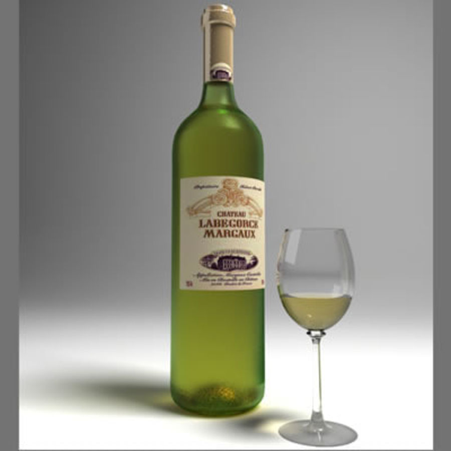 vino y copa de vino royalty-free modelo 3d - Preview no. 4