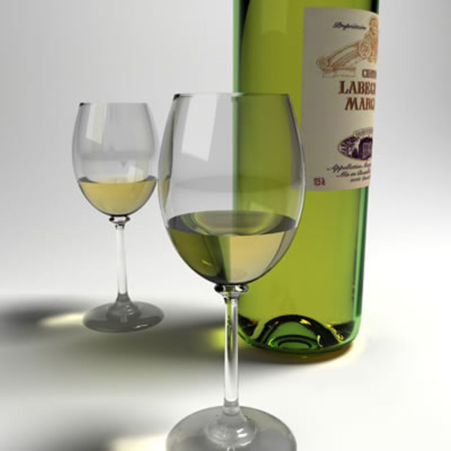 vino y copa de vino royalty-free modelo 3d - Preview no. 3
