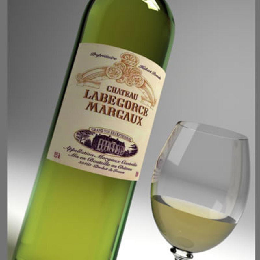 vino y copa de vino royalty-free modelo 3d - Preview no. 8