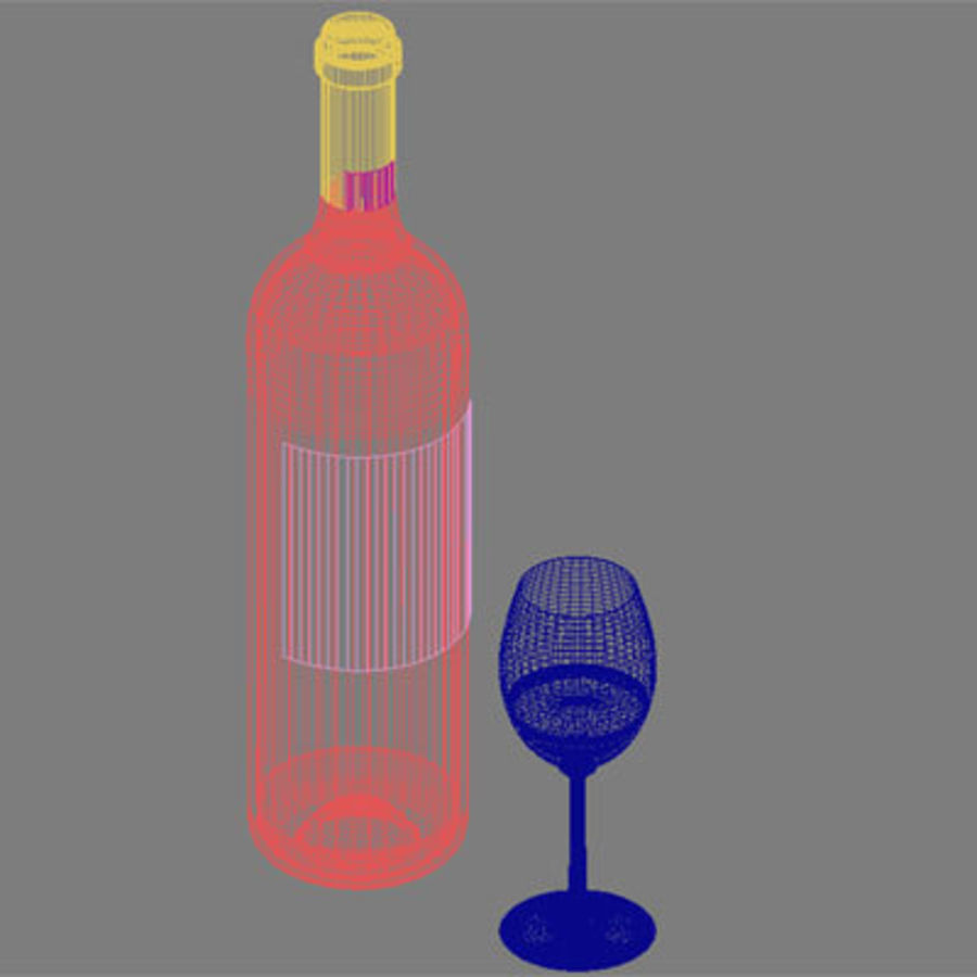vino y copa de vino royalty-free modelo 3d - Preview no. 7