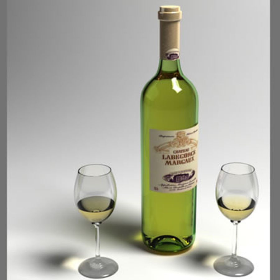 vino y copa de vino royalty-free modelo 3d - Preview no. 5